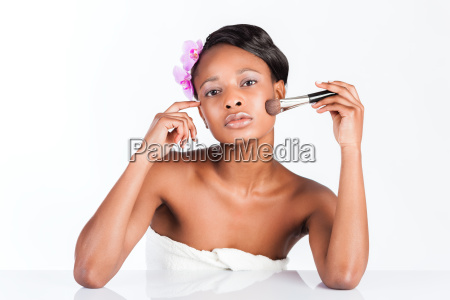 beautiful african woman in studio with