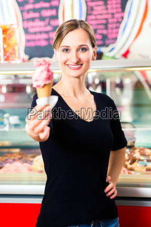 ice cream seller serving ice cream