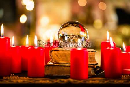 crystal ball in the candle light