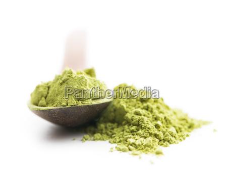 green matcha tea powder