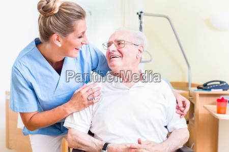 senior man and old age nurse