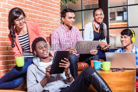 group of diversity college students learning