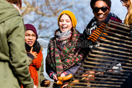 multi ethnic group of five young