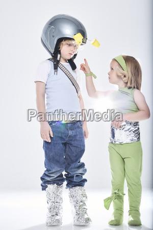 girl dressed up as alien getting