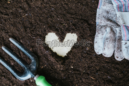 heart shape made with garden soil