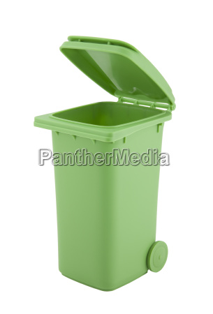 green recycle bin isolated on white