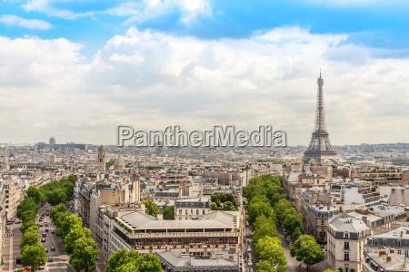 champs elysees avenue view paris france