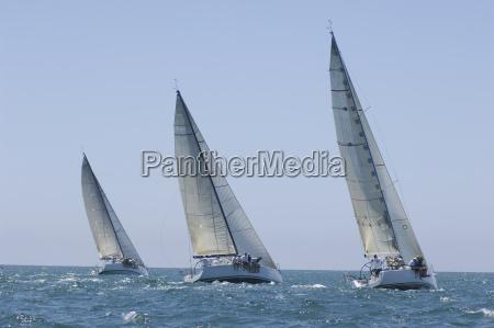 jachty rywalizuj w druzynowych zawodach zeglarskich