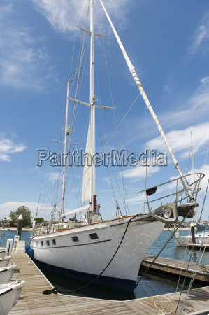 yacht moored at dock