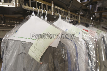 clean clothes on hanger in laundry