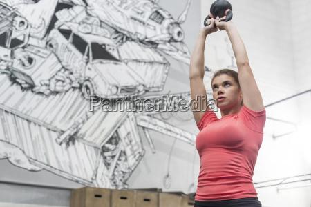 low angle view of dedicated woman