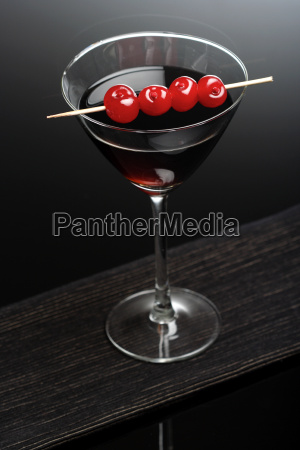 studio shot of drink in martini