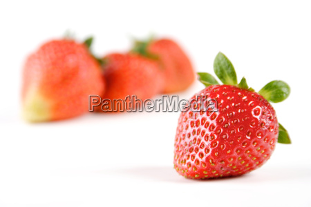 studio shot of strawberries on white
