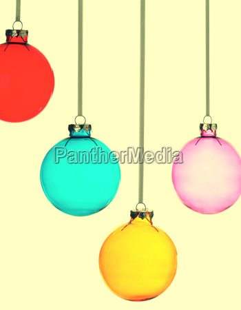 four christmas baubles on yellow vintage