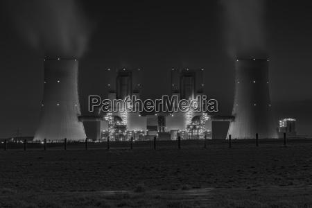 night shot of illuminated lignite power