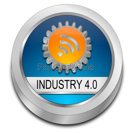 blue industry 40 button 3d