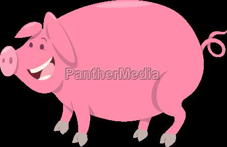 pink pig farm animal character