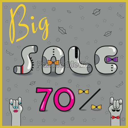 big sale seventy percents artistic font
