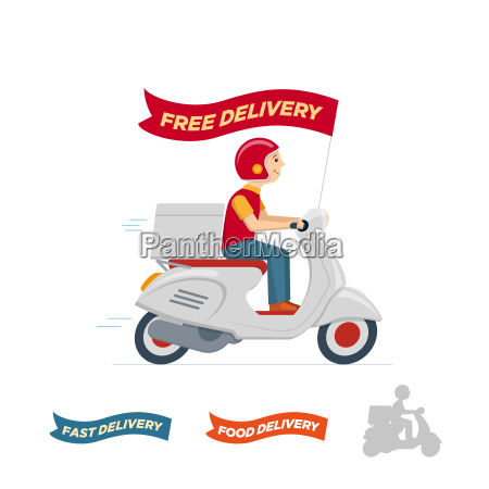 vector delivery service scooter illustration