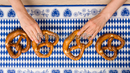traditional bavarian pretzels in a taken