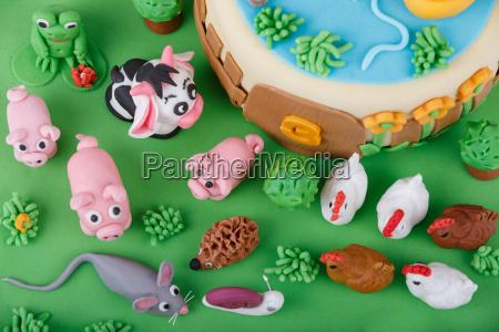 birthday cake with farm marzipan animals