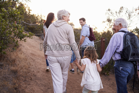 multi generation family on hike through