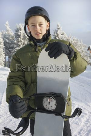 portrait of boy in ski gear