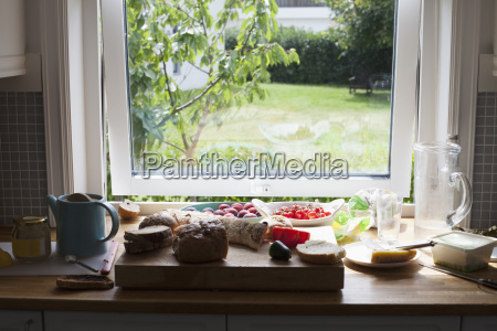 food on table by window