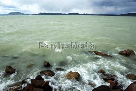 stormy lake balaton hungary