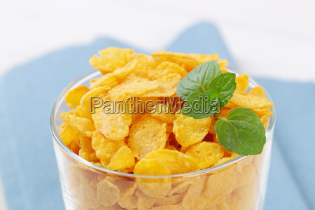 glass of corn flakes