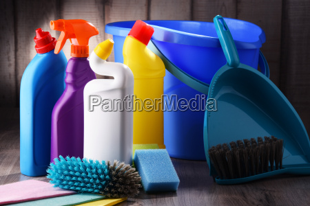 variety of detergent bottles and chemical