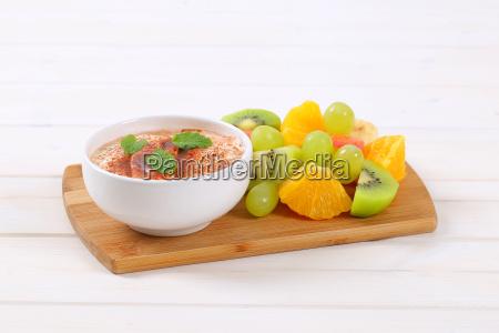 fruit salad with cinnamon yogurt
