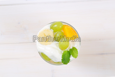 fruit salad with white yogurt