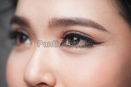 asian model eye close up with