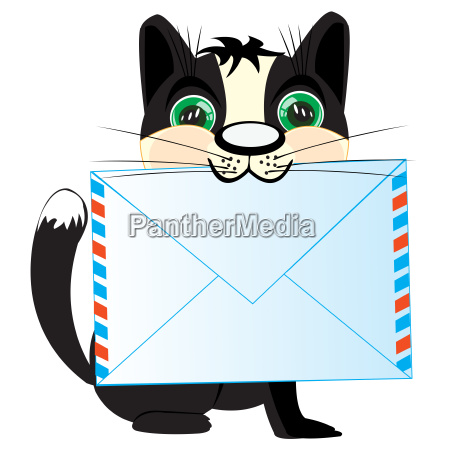 cat with letter