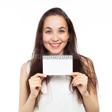 happy young woman displaying at a
