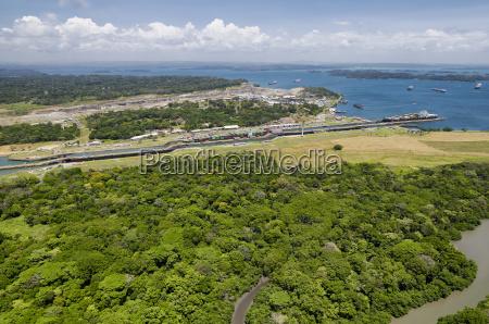 panoramic aerial view of gatun locks