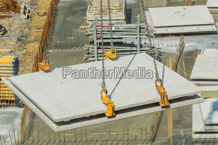 house building with concrete prefabricated walls