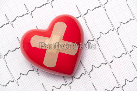 red heart with adhesive plaster on