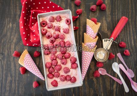 homemade ice cream with raspberries