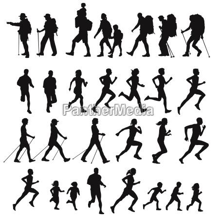 walking running nordic walking illustration