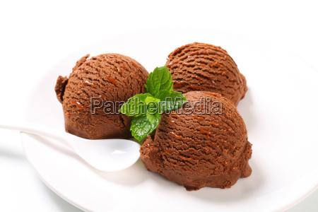 scoops of chocolate ice cream