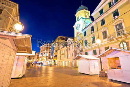 rijeka main square korzo evening view