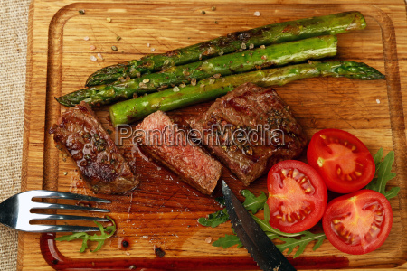 cut slices of grilled beefsteak on