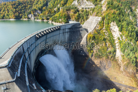 kurobe dam and water pond