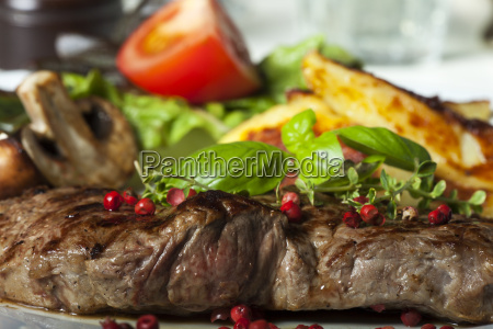 closeup of a beef steak with
