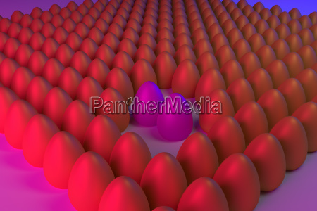 3d rendering of golden eggs in