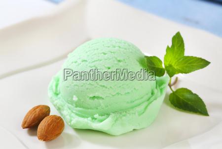 scoop of green ice cream