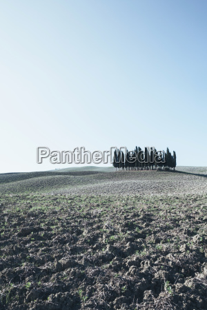 a tuscan landscape ploughed fields and