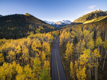 aerial view of fall colors and